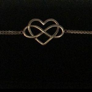 Infinity heart sterling silver bracelet
